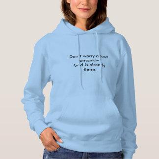 Don't Worry Women's Hoodie w/Blue Flower Cross