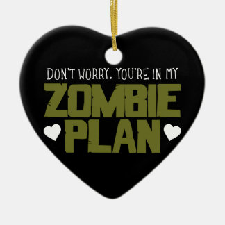 Don't Worry - You're In My Zombie Plan Double-Sided Heart Ceramic Christmas Ornament