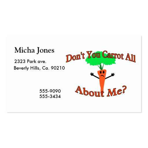 Don't You Carrot All About Me Business Card Templates