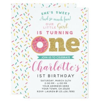 Donut 1st Birthday Invitation