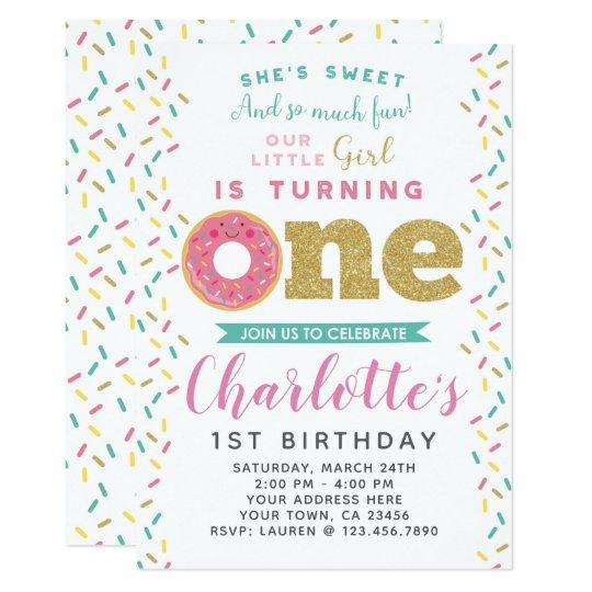 Donut 1st Birthday Invitation