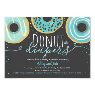 Donut And Diapers Sprinkle Boy Coed Baby Shower Invitation