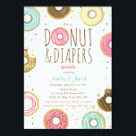 "Donut and Diapers Sprinkle invitation Coed shower<br><div class=""desc"">♥ A perfect way to invite your guests to your Baby sprinkle! Donut theme.</div>"