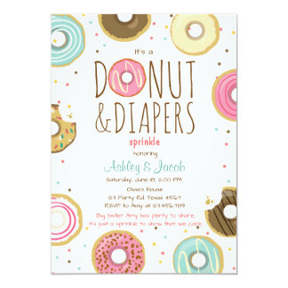 Donut and Diapers Sprinkle invitation Coed shower