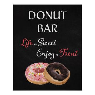 Donut Bar Wedding Sign-Life is Sweet Poster