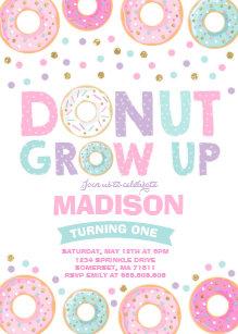 Donut Grow Up Invitations Zazzle