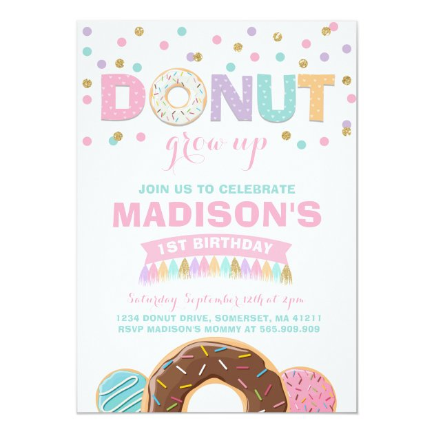Donut Birthday Invitation Donut Grow Up Party Zazzle Com