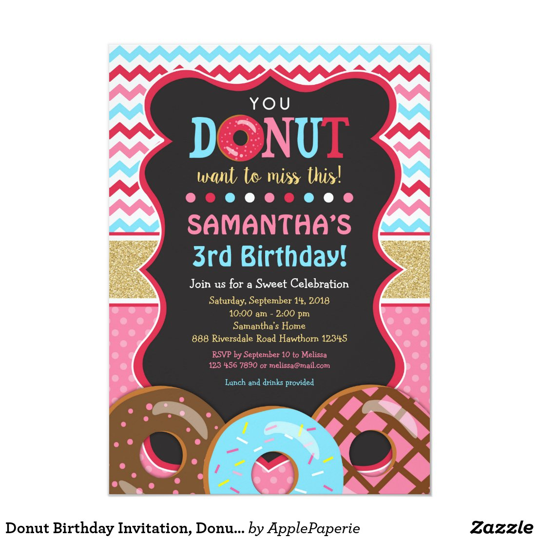 Donut Birthday Invitation, Donut Invitation