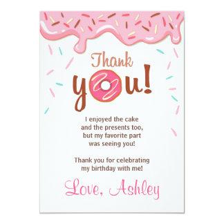 Donut Birthday Party Doughnut Thank You Card Girl