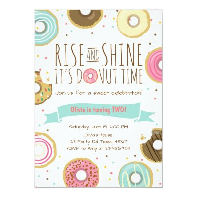 Doughnut Donut Birthday Party Invitation Pink Girl Zazzle Com