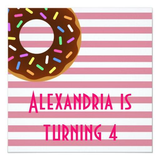 "Donut Birthday Party Invite 5.25"" Square Invitation Card"