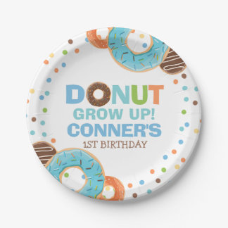 "Donut Birthday Party Paper Plate 7"" Donut Grow Up"