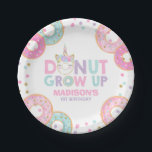 """Donut Birthday Party Paper Plate Donut &amp; Unicorn<br><div class=""""desc"""">Donut Birthday Party 7&quot; Paper Plate.  All designs are &#169; PIXEL PERFECTION PARTY LTD</div>"""
