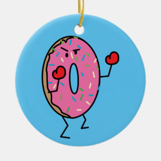 Donut Boxer Fighter dessert fried dough sugar vs. Ceramic Ornament