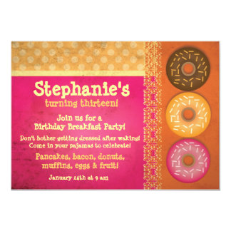 "Donut Breakfast Birthday Party Invitations 5"" X 7"" Invitation Card"