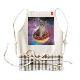 Donut cat-cat space-kitty-cute cats-pet-feline zazzle HEART apron