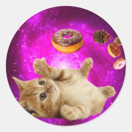 Donut cat - pet cat - kitten cat - cute cats classic round sticker