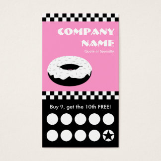 donut checkers punchcard business card