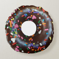 Donut Chocolate Sprinkles Round Pillow