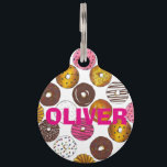 "Donut Doughnut Personalized Breakfast Junk Food Pet Tag<br><div class=""desc"">Pet tag features an original marker illustration of an assortment of delicious donuts. Simply personalize with your pet&#39;s name and your contact information for a one-of-a-kind cat or dog tag. This illustration is also available on other products. Don&#39;t see what you&#39;re looking for? Need help with customization? Contact Rebecca to...</div>"