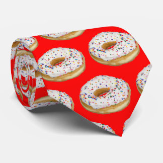 Donut Doughnut White Icing Sprinkles on Red Tie