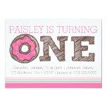 "Donut First Birthday Invitation - Pink 5"" X 7"" Invitation Card"