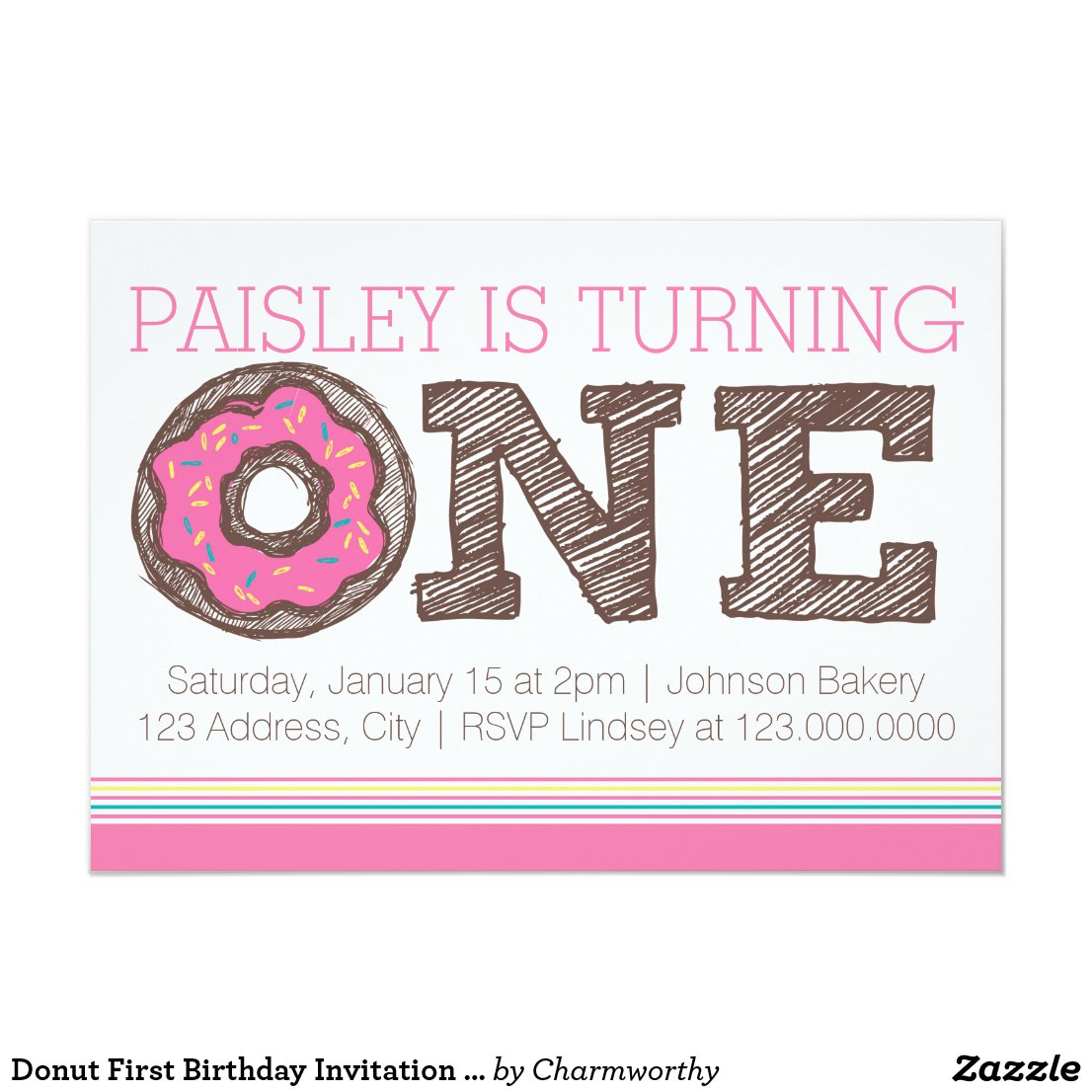 Donut First Birthday Invitation - Pink