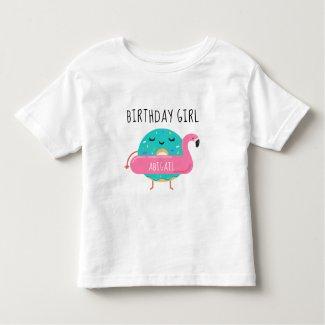 Donut Flamingo Birthday Girl Pool Party Adorable Toddler T-shirt