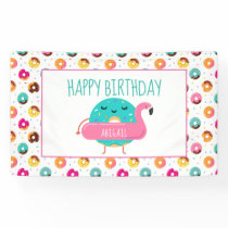 Donut Flamingo Birthday Pool Party Personalized Banner
