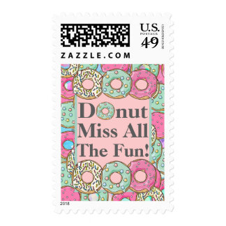 Donut Miss All The Fun Donut Birthday Party Postage