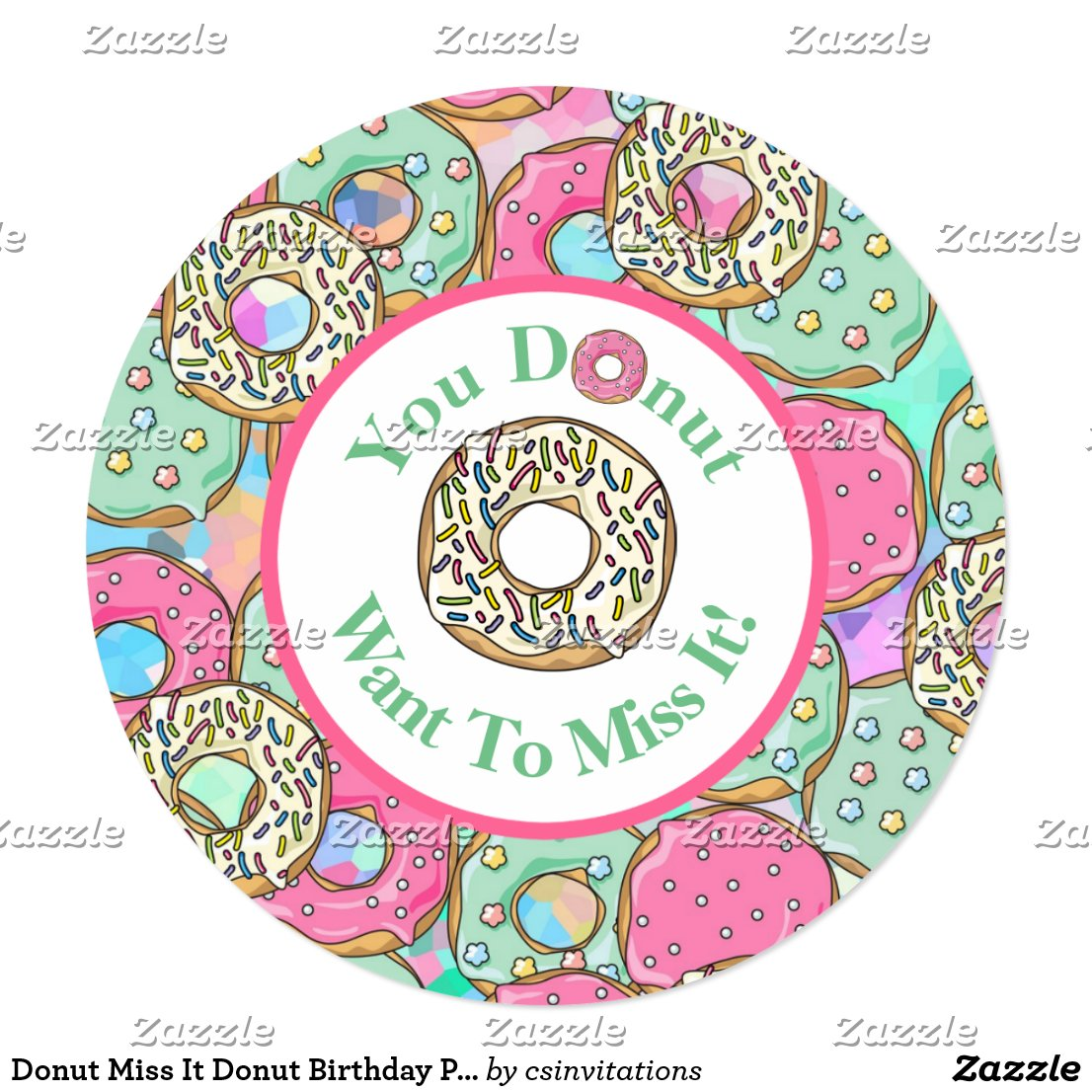 Donut Miss It Donut Birthday Party Invitation2