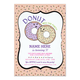 Donut Miss The Party Birthday Invite Doughnut Pink