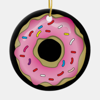 Donut Double-Sided Ceramic Round Christmas Ornament