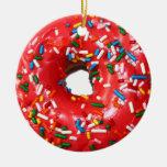 Donut Ornament Round Ceramic Ornament