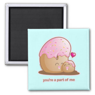 Donut Pair 2 Inch Square Magnet