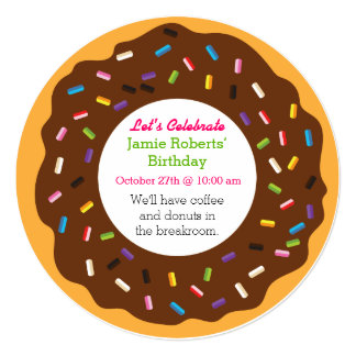 "Donut Party 5.25"" Square Invitation Card"