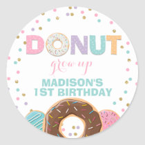 Donut Party Favour Tag Sticker Seal Donut Grow Up