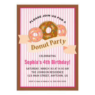 Donut Party for Child s Birthday Personalized Announcement