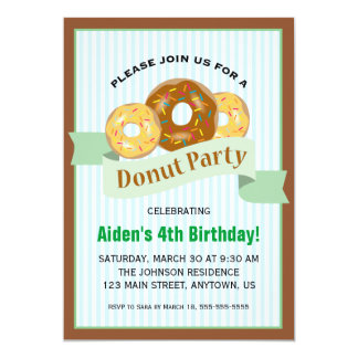 Donut Party for Child's Birthday 5x7 Paper Invitation Card