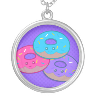 Donut Party Silver Plated Necklace