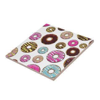 Donut Pattern, Colorful Donuts - Pink Blue Yellow Tile