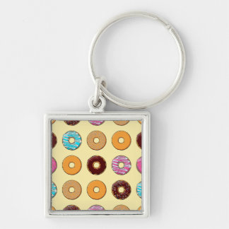 Donut Pattern on Yellow Keychain