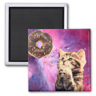 Donut Praying Cat 2 Inch Square Magnet