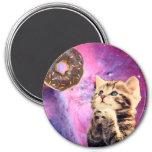 Donut Praying Cat 3 Inch Round Magnet