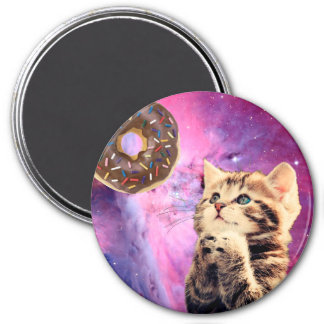 Donut Praying Cat 3 Inch Round Magnet