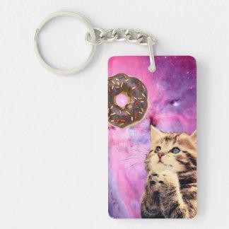 Donut Praying Cat Keychain
