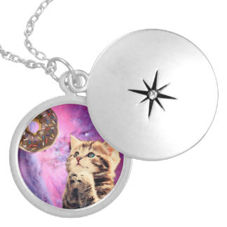 Donut Praying Cat Locket Necklace