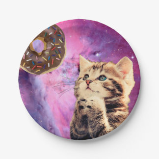 Donut Praying Cat Paper Plate
