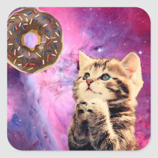 Donut Praying Cat Square Sticker