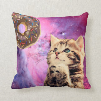 Donut Praying Cat Throw Pillow